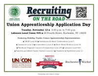Recruiting on the Road Union Apprenticeship Application Day
