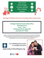 Heritage Christian Services Walk-In Interview Event